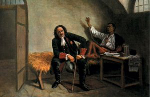 Петро І відвідує хворого П.Полуботка у в'язниці