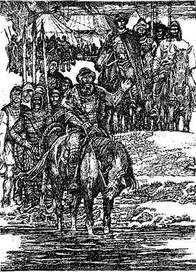 Перед світанком князь Ярослав з новгородцями перепливли Дніпро