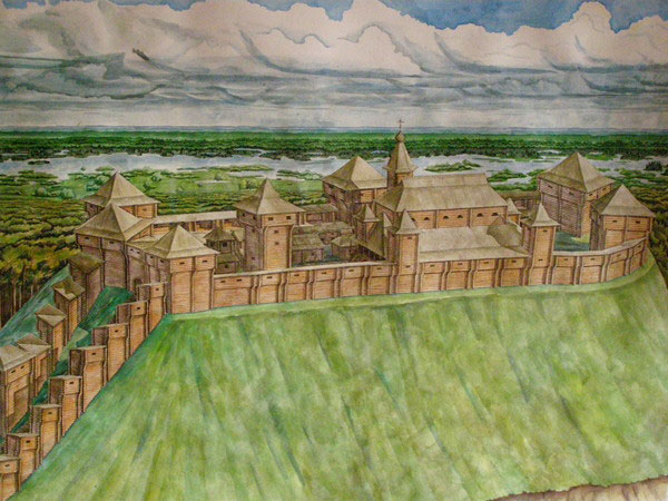 Замок був оточений міцними стінами з дубових колод.Вдовж стін були розміщені мідні котли для підігріву смоли та води.