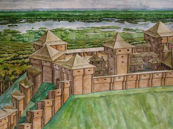 Вхід до замку являв собою невелику тунель з декількома воротами.
