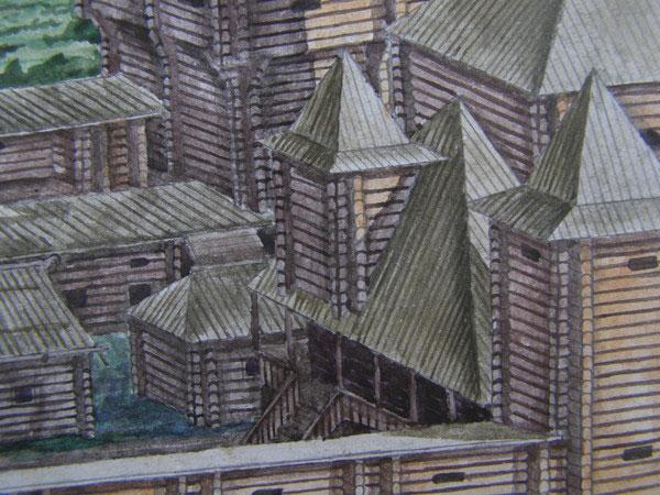 Всі будівлі замку були близько розміщені одна до одної.